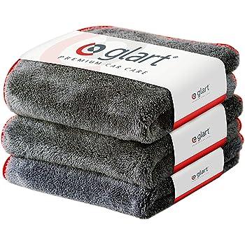 Glart 443TP Premium Flausch 3er Set Mikrofasertücher, ultraweich für perfekte Lackpflege, anthrazit, 40 x 40 cm, rote Kante