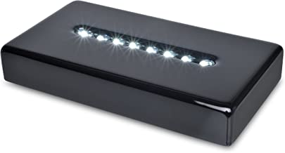 Santa Cruz Lights 8 LED White Light Black Lacquer Stand Base Display for Crystals, Art Glass - AC/USB Powered