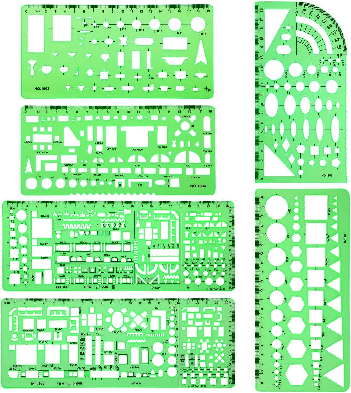 6 Pieces Plastic Dallas Mall Measuring Building Formwork Easy-to-use Stencils Templates