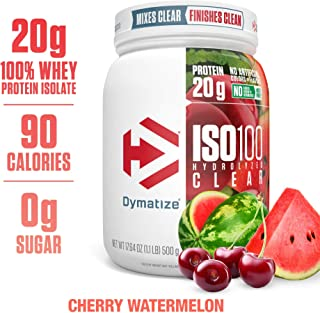 Dymatize ISO100 Hydrolyzed Clear Protein Powder, 100% Whey Protein Isolate Powder, 20g of Protein and 4g BCAAs, Gluten Free, Keto Friendly, Easy Mixing, Light & Refreshing, Cherry Watermelon, 1.1 lbs