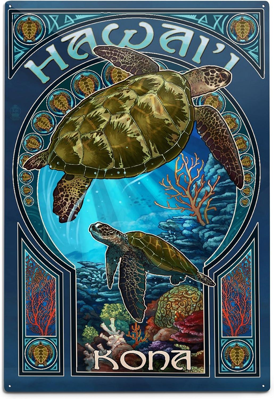 Lantern Press Kona Hawaii Sea San Antonio Mall Alumin Art 12x18 Turtle Nouveau Special sale item