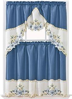 GOHD Golden Ocean Home Decor Arch Floral Kitchen Curtain Set/Swag Valance & Tier Set. Nice Matching Color Floral Embroider...