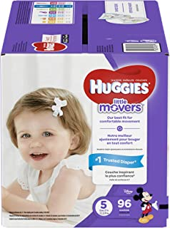 HUGGIES LITTLE MOVERS Diapers, Size 5 (27+ lb.), 96 Ct., GIANT PACK (Packaging May Vary), Baby Diapers for Active Babies