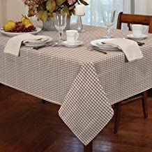 """Gingham Check Oblong Tablecloth Dining Room or Kitchen Table Linen 60"""" x 90"""" (Beige)"""