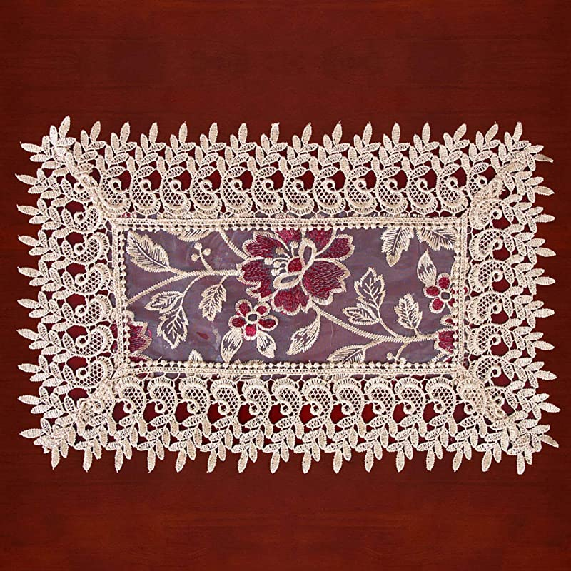 Grelucgo Beige Lace Table Doilies Place Mats Rectangular 12 18 Inches Set Of 4