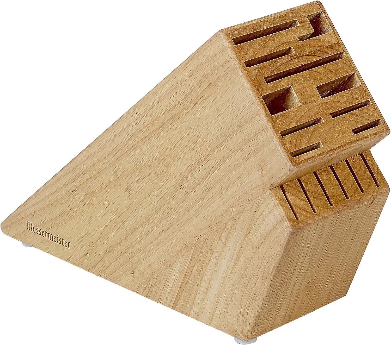 Messermeister Rubberwood 16 Slot Knife Block, Brown