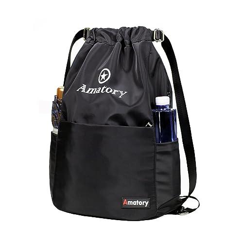 453446c4bcd6 Amatory Drawstring Backpack String Bag Waterproof Gym Sports Cinch Sack  Sackpack Gymsack School Bookbag Men Women