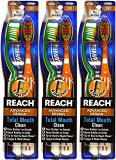 Reach Advanced Design Total Mouth Clean Curved Toothbrush, Soft, 2 Count (Pack of 3) Total 6 Toothbrushes
