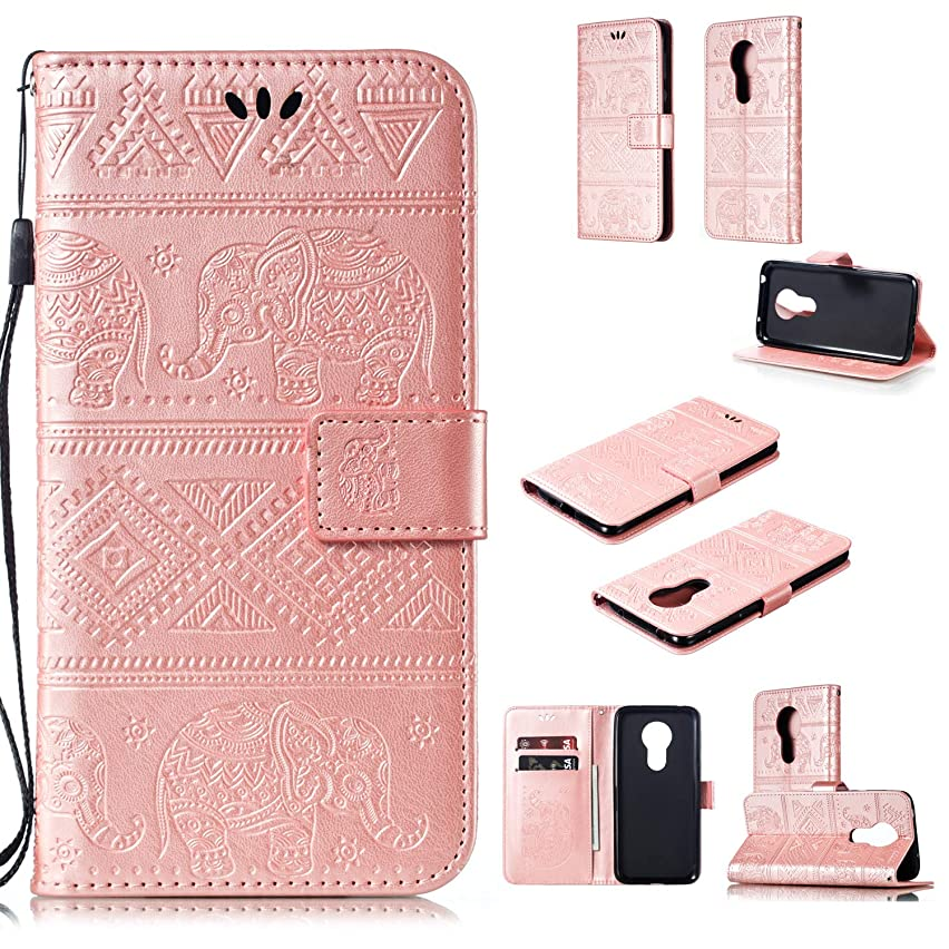 Moto G7 Power Case,DAMONDY Elephant Embossed Flowers PU Leather Magnetic Flip Cover Stand Card Holders & Hand Strap Wallet Purse Case for Motorola Moto G7 Power-Rose Gold