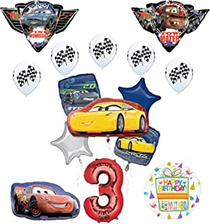 """Disney Pixar Cars """"3"""" 3rd Birthday Party Supplies and Balloon Decorations"""