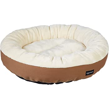 AmazonBasics Round Bolster Dog or Cat Bed with Flannel Top