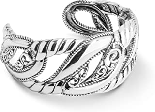 Sterling Silver Filigree Rope Cuff Bracelet Size S, M or L