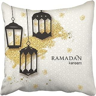 Acelive 18 X 18 Inches Throw Pillow Covers Ramadan Kareem Paper Cut Arabic Lamps Festive Ramadan Greetings Design Decor Pillowcases Polyester Square Hidden Zipper Home Cushion Decorative Pillowcase