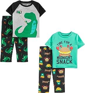 Toddler Boys' 4-Piece Fleece Pajama Set (SS Poly Top & Fleece Bottom)
