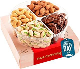 Fathers Day Gourmet Nut Gift Basket in Red Box (4 Piece Assortment) - Prime Arrangement Platter, Birthday Care Package Var...