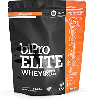 BiPro Elite 100% Whey Isolate Protein Powder, Unflavored, 2 Pounds - NSF Certified for Sport, Sugar Free, Suitable for Lac...