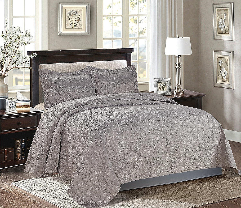 Majiija Oversized 3 Piece Quilted Embossed Bedspread Coverlet Set 106 x100  Queen Dark Grey
