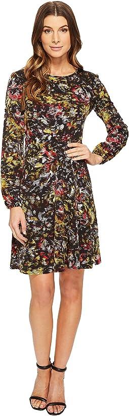 Sketch Flower Full Skirt Dress