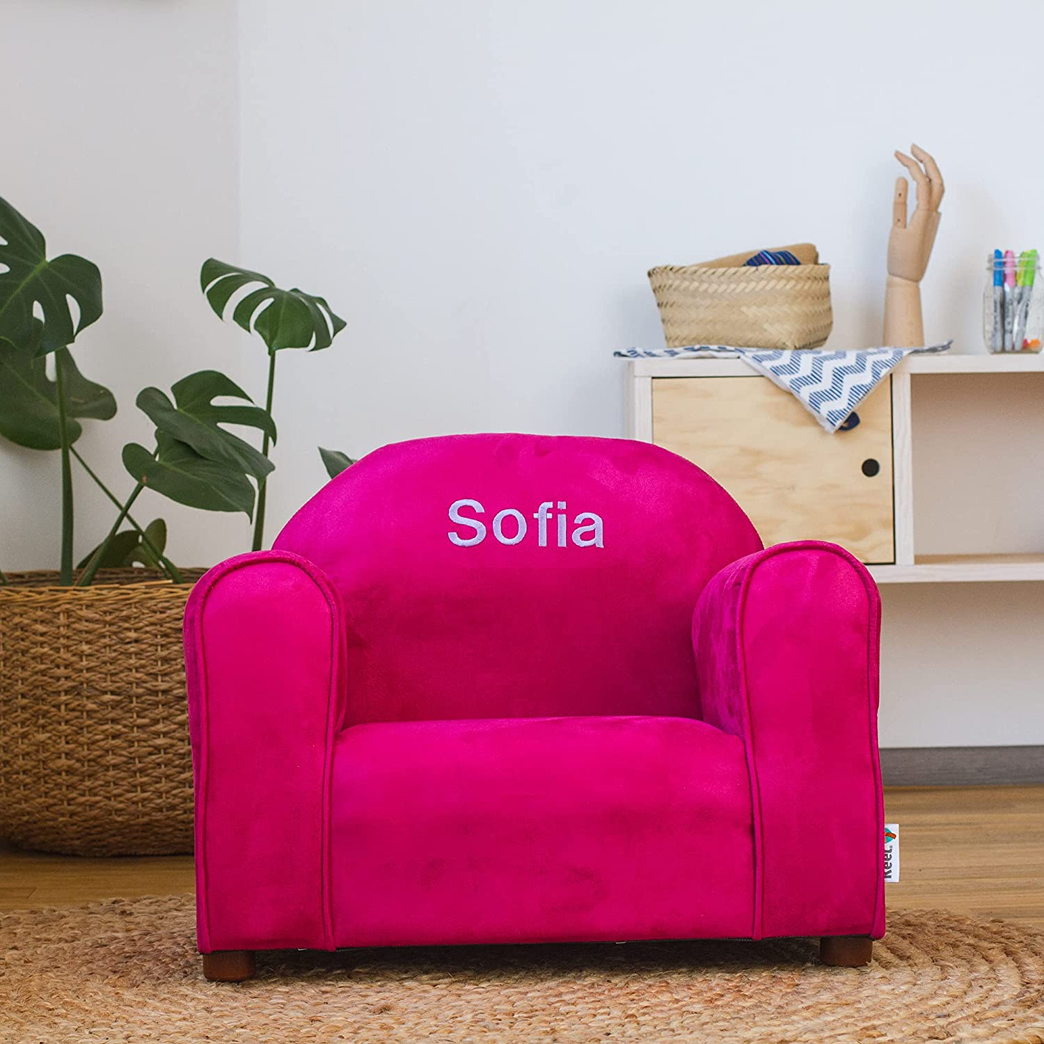 Inventory cleanup Animer and price revision selling sale Upholstered Personalized Kids Chair Pink Suede Hot Microfiber