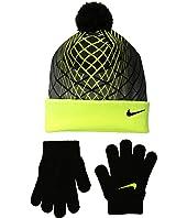 Nike Kids Graphic Pom Beanie & Gloves Set (Big Kids)