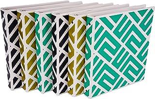Samsill Fashion Design 3 Ring Binder, Maze Print, 1 Inch Round Rings, Assorted Colors (Gold, Black, Aqua Green), Bulk Bind...