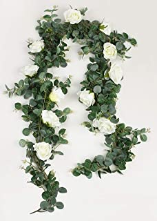 Aonewoe Artificial Eucalyptus Garland with Roses 2Pcs 11.8Ft/Total Greenery Garland Eucalyptus Leave for Table Wedding Backdrop Wall Decor(2Pcs)