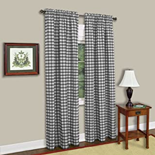 "Achim Home Furnishings Single Panel Buffalo Check Window Curtain, 42"" x 84"", Black & White"