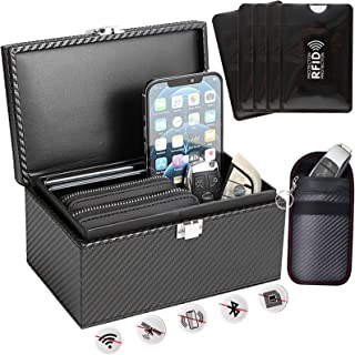 $29 » Faraday Box[Capacity Upgrade], Car Key Fob Protector Box with Faraday Bag and Card Pouch, RFID Keyless Signal Blocker Cas...
