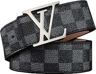 Women's Fashion Leather Damier Azur Print Belt