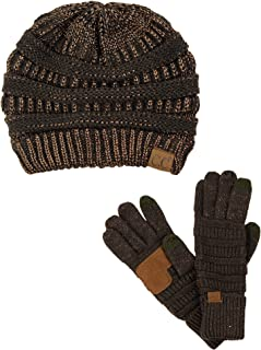 10663fa25cfd C.C Unisex Soft Stretch Cable Knit Beanie and Anti-Slip Touchscreen Gloves  2 Pc Set