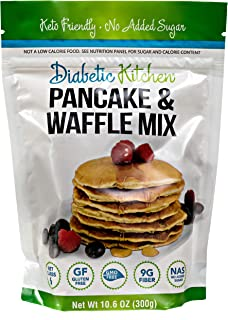 Diabetic Kitchen Keto Pancake Mix - Low Carb Gluten-Free Waffles - No Sugar Added, 9g Fiber - No Artificial Sweeteners or ...