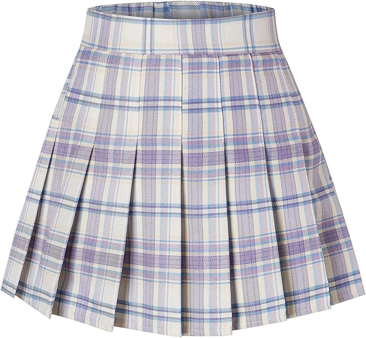 Girls & Women's Plaid Print Pleated School Uniform Skirt Lilac Plaid, US X-Large