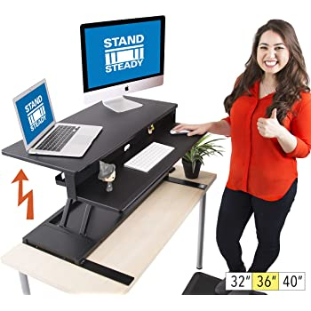 """Flexpro Power 36 Inch Electric Standing Desk - Electric Height Adjustable Stand up Desk by Award Winning Stand Steady - Holds 2 Monitors (Black) (36"""")"""