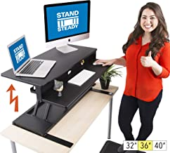 Flexpro Power 36 Inch Electric Standing Desk - Electric Height Adjustable Stand up Desk by Award Winning Stand Steady - Holds 2 Monitors (Black) (36