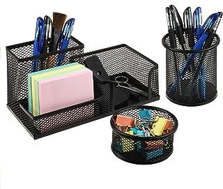 3 عدد میز کار سازمان دهنده ، میز کار سازمان دهنده Caddy - نگهدارنده کلیپ کاغذی و نگهدارنده قلم ذخیره سازی برای دفتر ، مدرسه ، لوازم خانگی ، نگهدارنده قلم سیاه شفاف (سیاه)