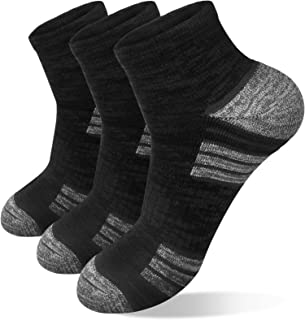 3 Pairs Mens Running Sports Socks, Anti-Blister Cushioned Walking Socks, Breathable Trainer Athletic Work Ankle Low Cut So...