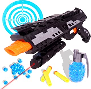 Tevelo 2 In 1 Shooting Gun Toy By Super Sniper Weapon Toy - Great Fun Foam Blaster Toy With Foam Darts, Water Polymer Balls And Dartboard