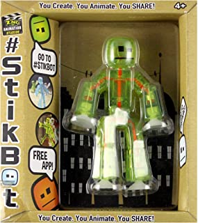Zing Stikbot, Translucent Light Green Stikbot Action Figure [Glows in The Dark], 3 Inches