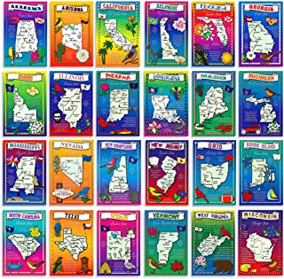U.S. State Map Postcard Set. 50 modern post card variety pack. Illustrated postcards with maps of all fifty states of the United States of America. Made in USA.