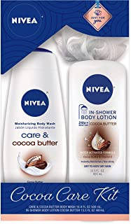 NIVEA Cocoa Butter Care Kit - Body Wash and In-Shower Body Lotion - For Dry to Very Dry Skin - 16.9 fl. oz. & 13.5 fl. oz.