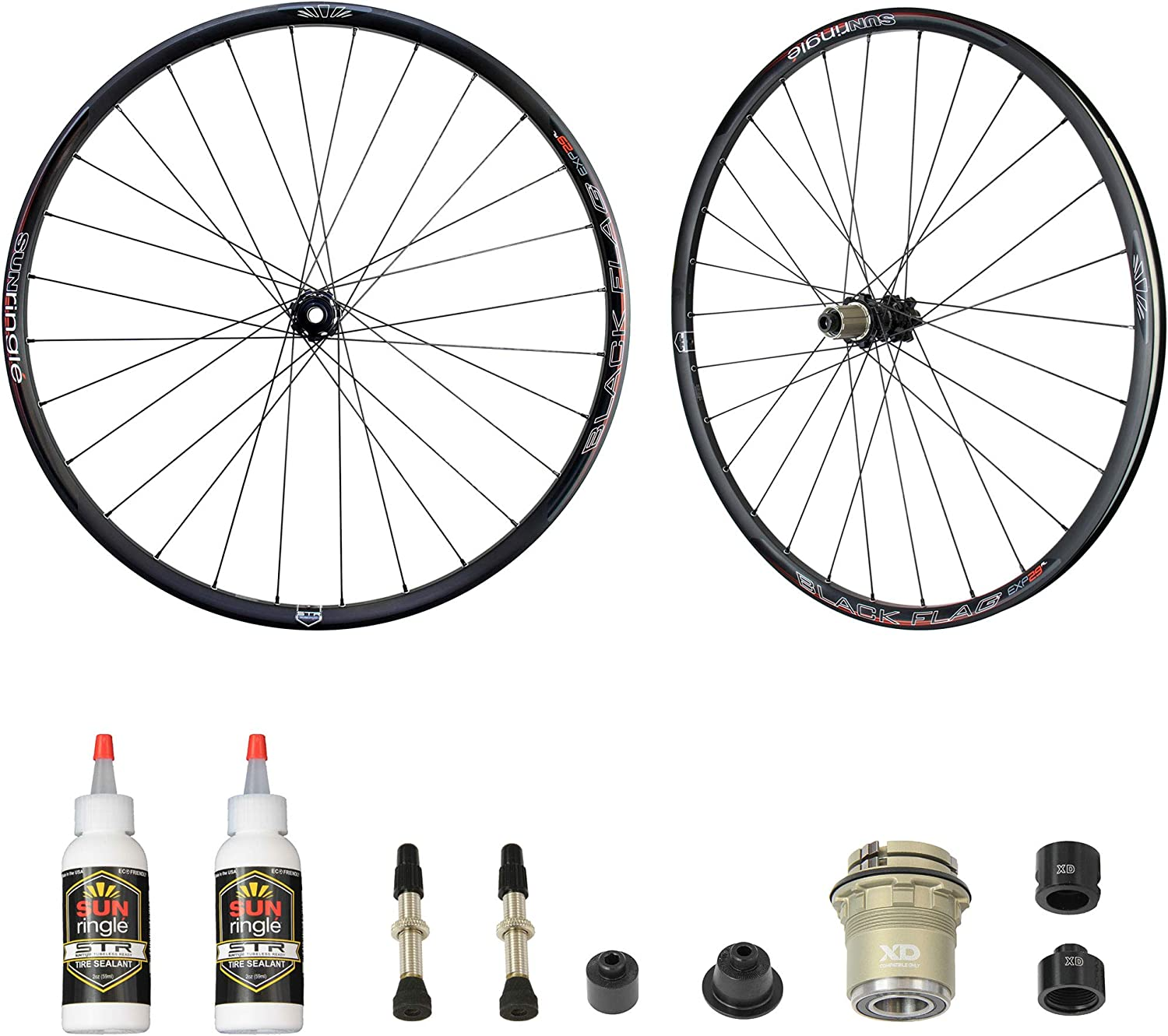 Sun Ringle Black Flag Expert AL Bicycle Tubeless Ready Boost Wheelset 29  15x110mm 12x142mm