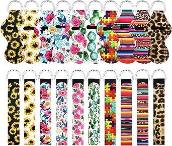 10 pcs Chapstick Holder Keychains with 10 pcs Neoprene Wristlet Keychain Lanyards, Vibrant Colors, Lightweight Lip Balm Keychain Holder, Chapstick Keyring Holder Portable Lipstick Holder Keychains