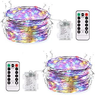 JMEXSUSS 2 Pack Fairy String Lights Battery Operated, 8 Modes 100 LED 32.8ft Timer Remote Control Waterproof Dimmable Copper Wire Lights(Multicolor)