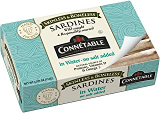 Connetable Skinless and Boneless Sardines in Water No Salt Added, 4.375 Ounce (Pack of 12)