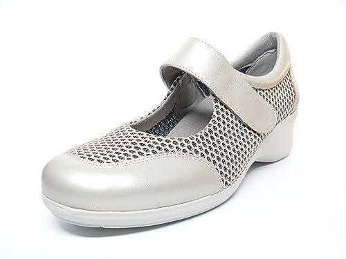Zapato damen casual marca DOCTOR CUTILLAS tipo mercedes deportivo maya perforada, cierre velcro Farbe beige PLANTILLA EXTRAIBLE - 47252 - 54