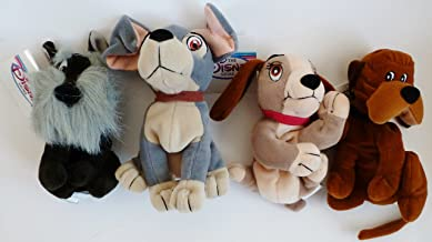 Retired Disney Lady and the Tramp Complete Set of 4 Plush Bean Bag Dolls Including Tramp, Lady, Jock, and Trusty Mint with Tags