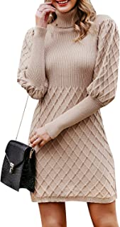 Simplee Women's Turtleneck Puff Sleeve Knitted Bodycon Mini Pullover Sweater Dress