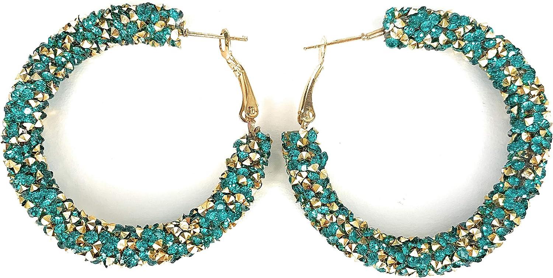 Gold Teal crystal hoop earrings textured hoops 1 7/8 wide lightweight leverback hoop earrings sparkly crystals