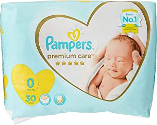 Pampers Premium care Diapers, Size 0, Newborn, < 2,5 kg, Carry Pack, 30 Count