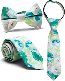 Littlest Prince Couture Teal & Mint Floral (12 Years - Adult Zipper Tie)